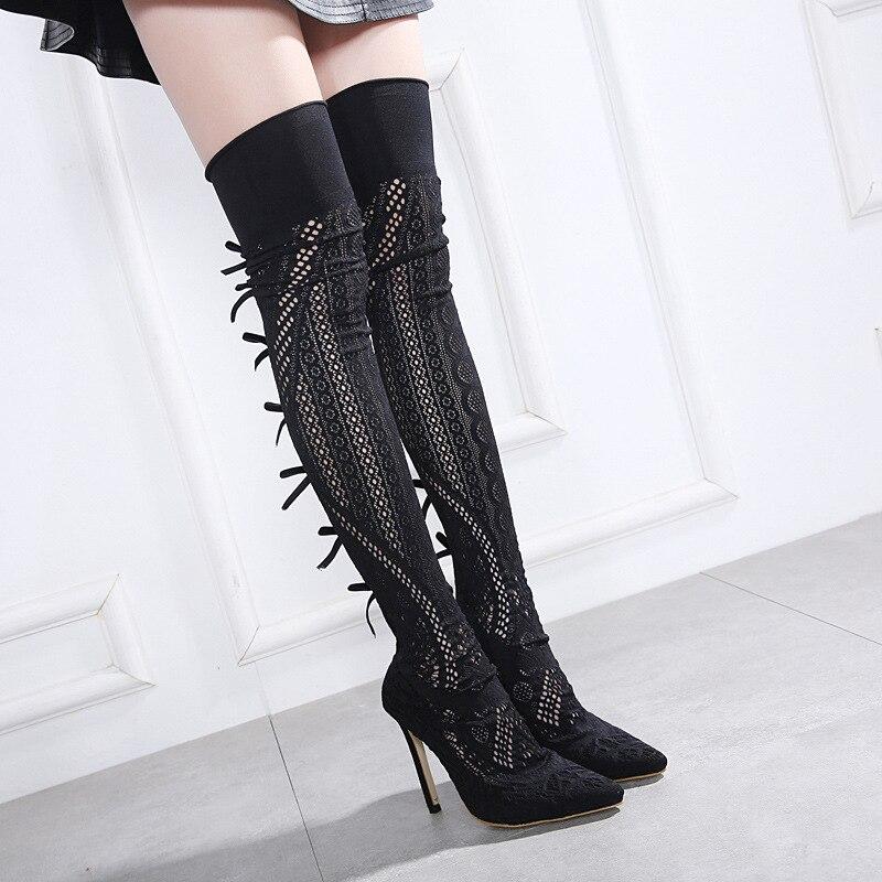 Nuevas Del Hechas Rodilla Punta Botas Sólido Otoño Moda Sobre Dedo Negro  Alto Zapatos Pie De Sexy A Mujeres La Tacón ... 0e187f979f47