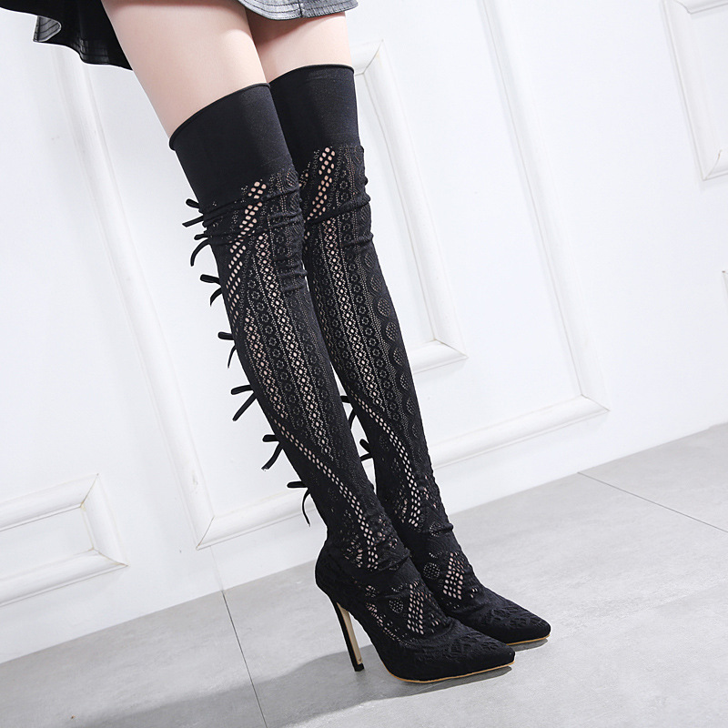 NEW women over the knee boots high heel sexy spring and autumn silp on pointed toe fashion shoes Handmade boots solid black hot woman knee high boots fashion woolen 3 styles slip on solid wedge boots autumn and spring shoes women 1965
