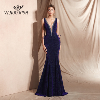 High-end Reflective Dress Sexy Deep V-Neck Mermaid Long Evening Dress Formal Banquet Party Prom Shiny Robe De Soiree 8 Colors 30