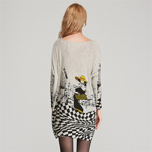 Image 4 - XIKOI Free Size Autumn Women Long Sweaters Slash Neck Batwing Sleeve New Printed Pullovers Female Loose Casual Knitted Sweaters