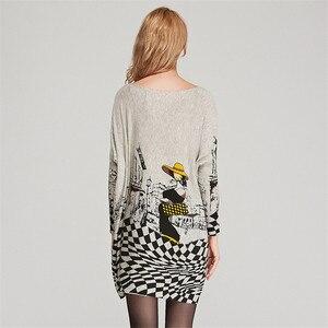 Image 4 - XIKOIฟรีขนาดฤดูใบไม้ร่วงผู้หญิงเสื้อกันหนาวยาวSlashคอBatwing Sleeveพิมพ์เสื้อกันหนาวหญิงหลวมสบายๆถักเสื้อกันหนาว