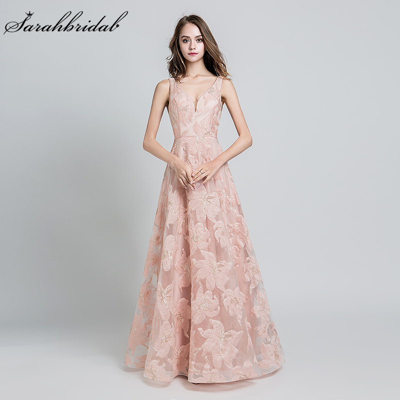 Sexy Evening Dress A Line Open Back Sleeveless V Neck Lace Tulle Party Gown Long Women Formal Floor Length Robe De Soiree WT5189