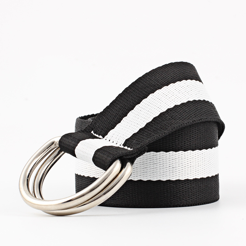 HUOBAO Fashion Rainbow Belt Black Double Buckle Women Belts Female Girls White Canvas Dress Waist Belt in Men 39 s Belts from Apparel Accessories