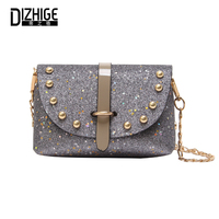 DIZHIGE Brand Designer PU Leather Women Bags High Quility Rivet Crossbody Bags For Women Fashion Sequins