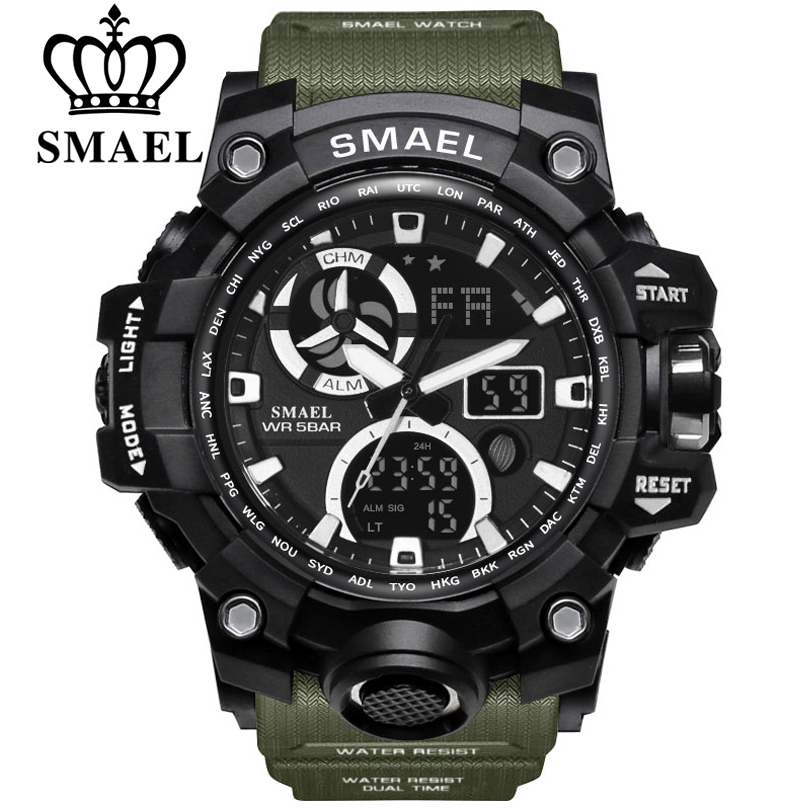 SMAEL Sport Watches for Men Waterproof LED Digital Watch Men's Wristwatch Clock Man 1545C Big Mens Watches Military montre homme