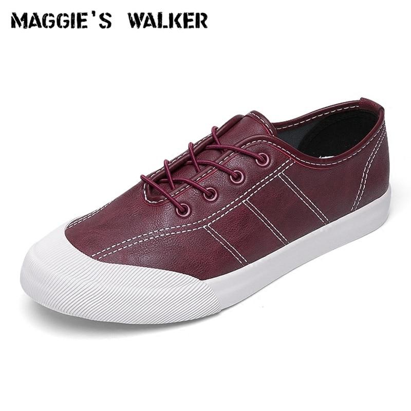 Sapatos 39 Preto Casuais Pu Chegada marrom Nova Couro De Plataforma Dos Moda Maggie A Tamanho 44 Homens ~ cinza Está Lona Lacing branco vermelho Walker Da vqxz11U