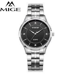 Мужские часы Mige, повседневные водонепроницаемые кварцевые часы со стальным корпусом и черным циферблатом, хит продаж 2017