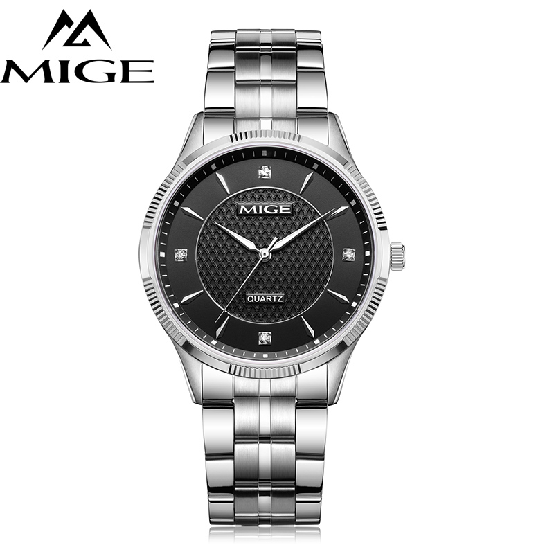 Mige 2017 Top Brand Luxury Real Hot Sale Fashion Casual Lover Man Watches Steel Case Black Dial Waterproof Quartz Mans Watch