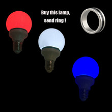Multicolor Magnet Control Magic Light Bulb( White Red Blue 3 Color) Lamp Trick & Ring Stage Props Magician
