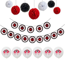 Happy Halloween Paper Banner Garland Latex Foil Balloons Set Flowers horror Eyes background Party Decoration