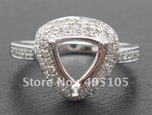 7x7mm-Trillion-solid-14k-White-Gold-NATURAL-diamond-semi-mount-jewelry-fascinating-free-shipping