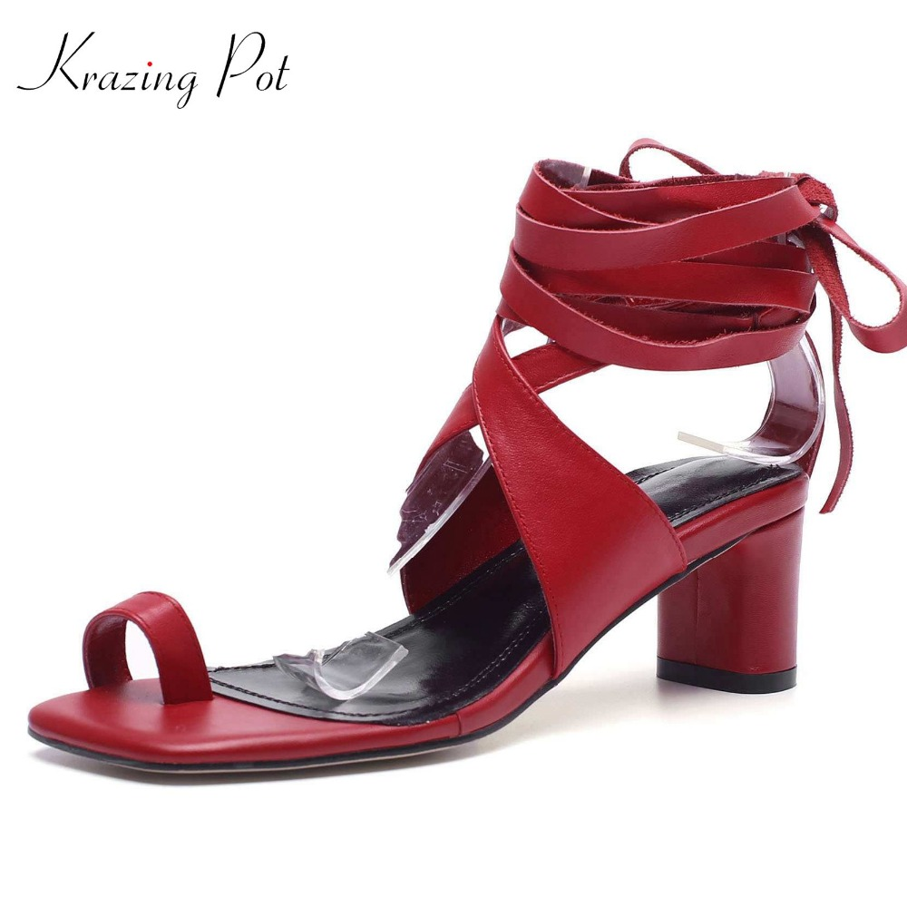 Krazing Pot 2018 cow leather ankle lace up square peep toe flip flop set finger Internet star high heels women sandals shoes L92 krazing pot recommend autumn cow leather wedges thick bottom high heels straw sole pumps lace up mixed color oxford shoes l92