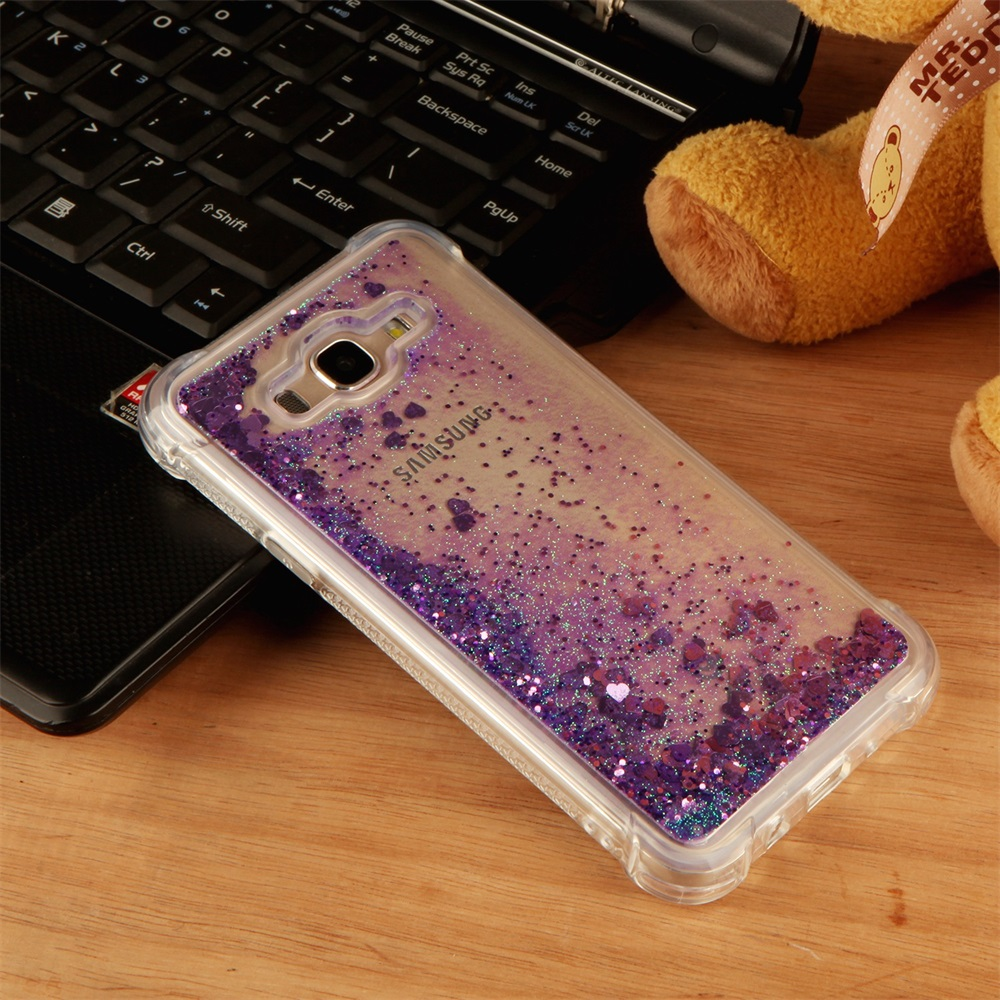 Galleria fotografica Love Liquid Phone Case For Samsung Galaxy J3 J5 J7 A3 A5 A7 2016 2017 EU US Quicksand Glitter Soft Shiny Cover For j2 Prime