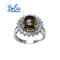 Bolaijewelry,Natural black opal oval 8*10mm gemstone Ring 925 sterling silver for women anniversary party&daily wear best gift