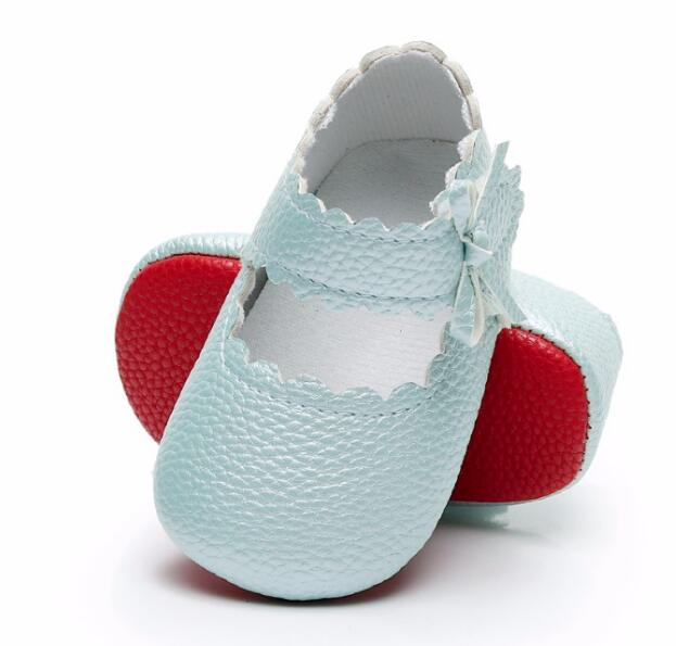 2020 Fashion Baby Moccasins Shoes Red Sole Ballet Princess Toddler Girls Shoes PU First Walk Soft Sole Shoes Dropshipping