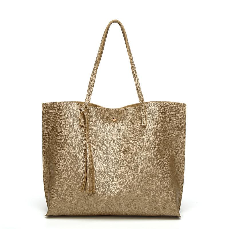 Fashion tassel handbag high quality PU leather women handbags large capacity pink gold totes lady s