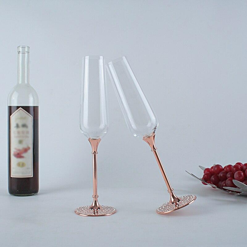 Ensemble de verre à Champagne couleur or Rose, emballage de boîte-cadeau 2 pièces/ensemble, cristal 160 pièces décoré, bol en verre cristal de bohême tchèque