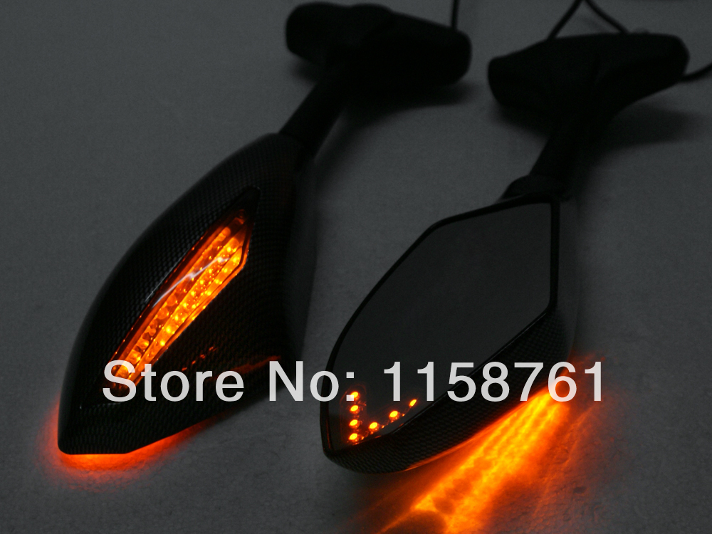 Yellow Carbon Fiber LED Turn Signals Integrated Rearview Mirrors for Yamaha FZ6R YZF FZ1 FZ6 FZR600R FZR1000 Free Shipping