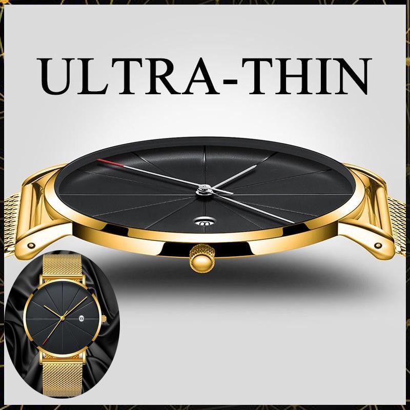 Stainless Steel Quartz Wristwatches Fashion Gold Men Watches Ultra-thin Watches Classic Quartz Date Casual Mesh Belt Wristwatch