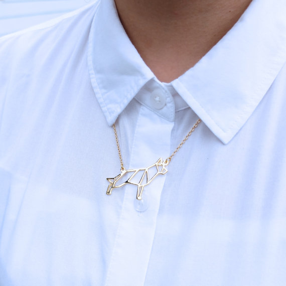 Wholesale Trendy German Shepherd Necklace Women Origami Statement Necklace Pet Jewelry Kolye Cs Go Collares
