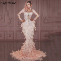 Fashion Sparkly Rhinestones Pink Feather Nude Dress Sexy Full Stones Long Big Tail Dress Costume Prom Birthday Celebrate Dresses