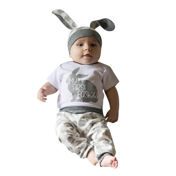 BABYBALL 2019 Boys Outfits Newborn Baby Girl Boy Cartoon First Easter 3D Bunny Outfits Romper Hat Pants Set 1