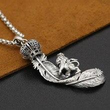 Korona lion eagle wisiorek z piórkiem prawdziwe 925 srebro biżuteria dla kobiet wisiorek srebro 925 grzywny vintage biżuteria GP19