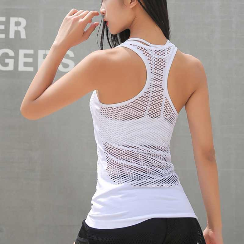 Women Sleeveless Yoga Shirts Exercise Active Tops Mesh Hollow Out Breathable Fitness Sport T Shirts Gym Running Vest new