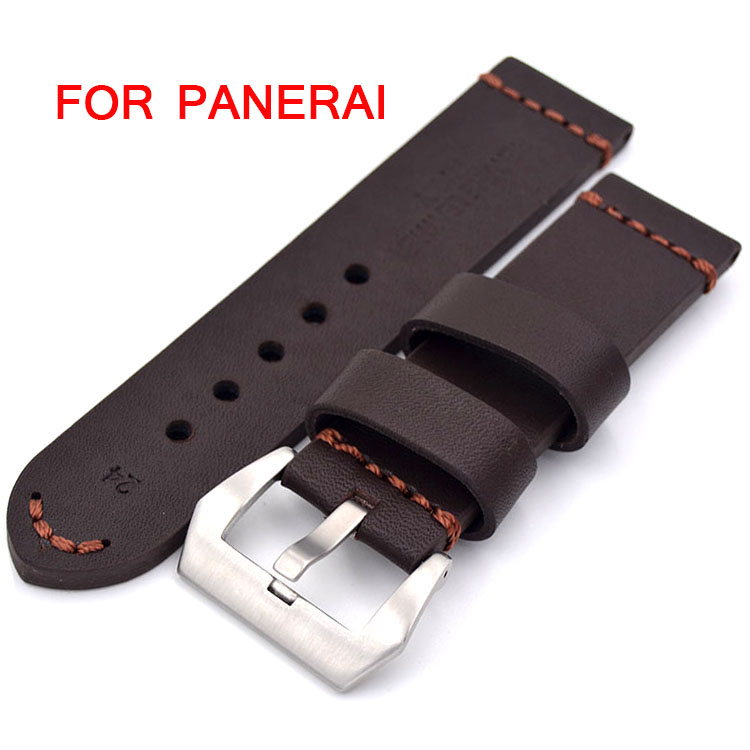 Classic Men 22mm / 24mm / 26mm Strap For Panerai New Brown/Black Retro Leather Watch Bands,  Fast Delivery  handmade leather watchbands version classic men black 24mm 26mm watchbands for panerai strap fast delivery