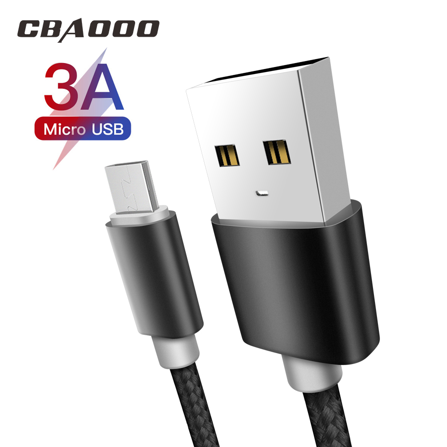 3A Micro USB Cable 3M Fast Charging Nylon USB Sync Data Mobile Phone Android Adapter Charger Cable For Samsung Xiaomi RedmiCable
