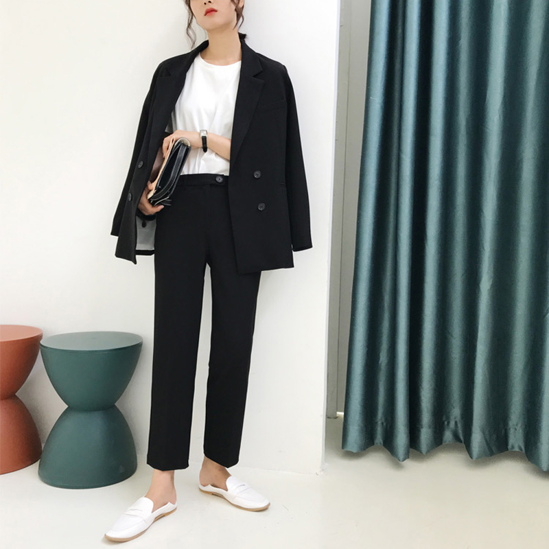 Vintage Double Breasted Women Pant Suit Light Green Notched Blazer Jacket & High Waist Pant Spring Office Wear Women Suits 4