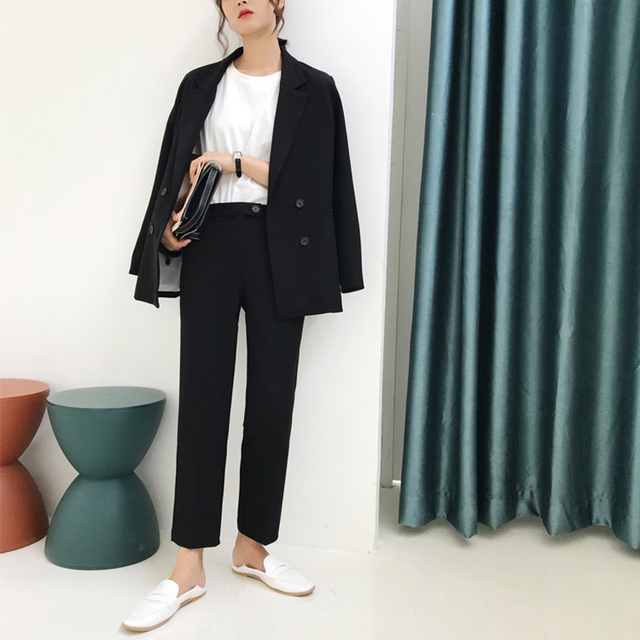 Vintage Double Breasted Women Pant Suit Light Green Notched Blazer Jacket & High Waist Pant Spring Office Wear Women Suits 12
