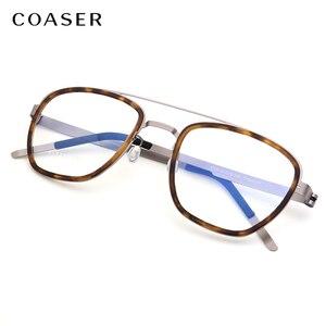 Image 2 - Gafas de titanio para hombre, lentes con montura de marca de Dinamarca, diseño Vintage, redondas, graduadas, para miopía, de metal