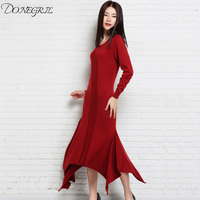 2018autumn and winter NEW High collar Cashmere blended Sweater irregular Dress knit knee Wool long female pullover