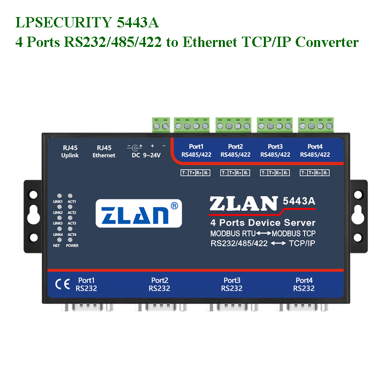LPSECURITY ZLAN5443A 4 Ports RS232/RS485/RS422 To TCP/IP Ethernet Converter Modbus RTU Gateway Multihost Serial Device Server
