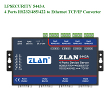 LPSECURITY ZLAN5443A 4 porte RS232/RS485/RS422 a TCP/IP ethernet convertitore modbus RTU gateway multihost server dispositivo seriale