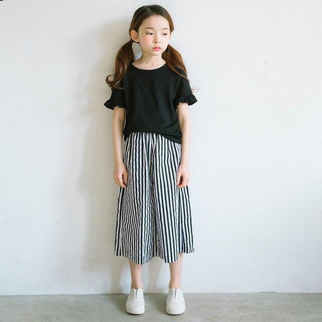 7dff809594 US $13.64 35% di SCONTO|Pantaloni larghi del piedino per le ragazze dei  bambini dei pantaloni delle ragazze dei vestiti di estate di autunno della  ...
