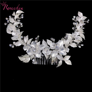 Image 4 - newly Rose Gold Wedding long Hair combs Handmade metal Flower Crystal wedding Hair Accessories Hair Ornaments Wholesale RE3486