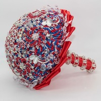 Fashion Luxury Blue Red White Flower Bridal Bouquets Red White Crystal Wedding Bouquet Brooch Bouquet De Mariage Accessories