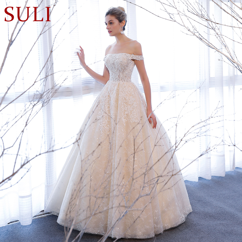 SL 309 Elegant Off Shoulder Bridal Ball Gowns Beads 2018 Cheap Full Lace Wedding Dresses
