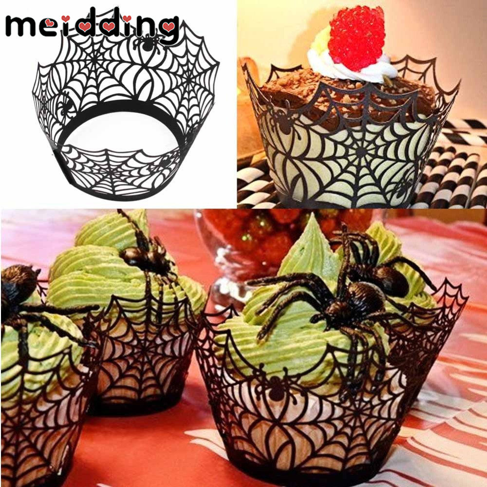 meiddng 12pcs halloween cupcake wrappers for event party decoration hollow laser black web muffin cup liner - Halloween Cupcake Holder