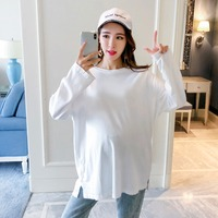 Pregnant women T shirt Spring 2018 new fashion white long sleeved shirt Korean compassionate loose maternity shirt