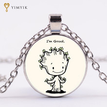 "YimYik Glass Picture Pendant Guardians of the Galaxy Necklace ""I'm Groot"" Art Pendant For lovers jewelry gifts(China)"