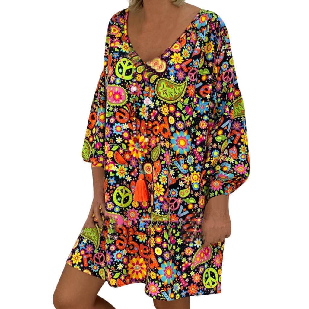 Ethnic Style Large Size Loose Printed Bohemian Beach Dress Summer Leisure Vacation Long Sleeve V-neck High Waist Dress Plus Size