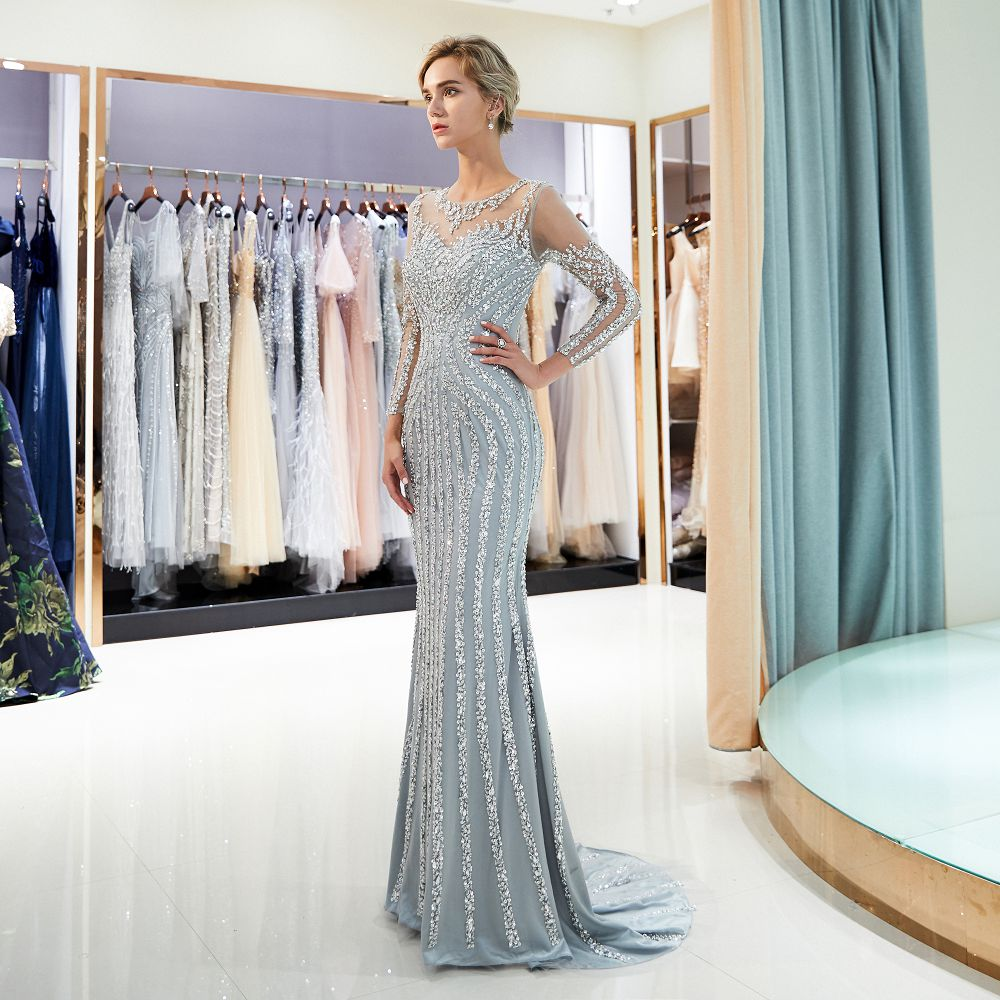 Long sleeves beading muslim   evening     Dress   2018 grey champagne formal   evening     dresses   mermaid Prom   dress   Gown Vestido de Noiva