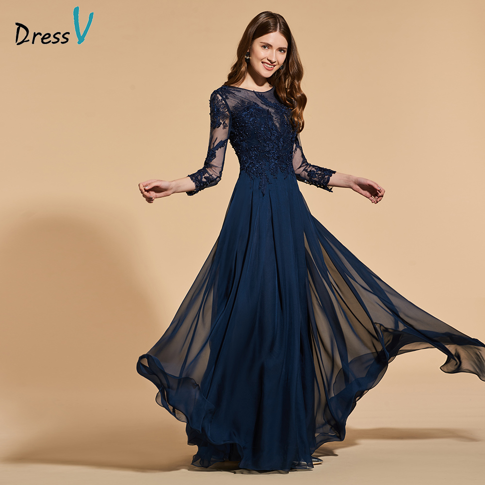 Dressv dark navy beading long   prom     dress   long sleeves simple a-line appliques button evening party gown   prom     dresses   customize
