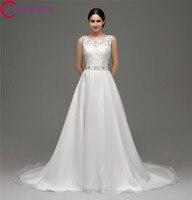 Real Photo Princess A Line Wedding Dress Sleeveless Backless Lace Top Bridal Dresses 2017 Long Bridal