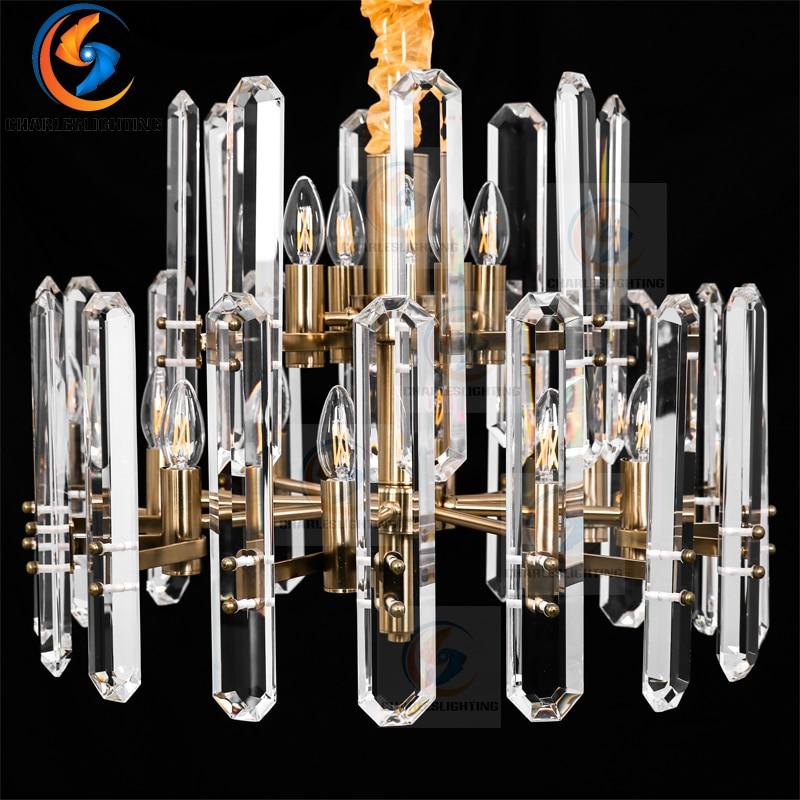 Luxe américain RH grand cristal Led Lustre salon Post moderne Lustre éclairage Lustre pendentif Lustre suspension lampe