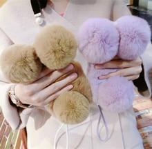 Étui en fourrure de lapin Panda de luxe pour iPhone 11 12 X XS MAX XR 8 7Plus 6S 6plus 5 5S mignon dessin animé chaud moelleux cheveux couverture en peluche