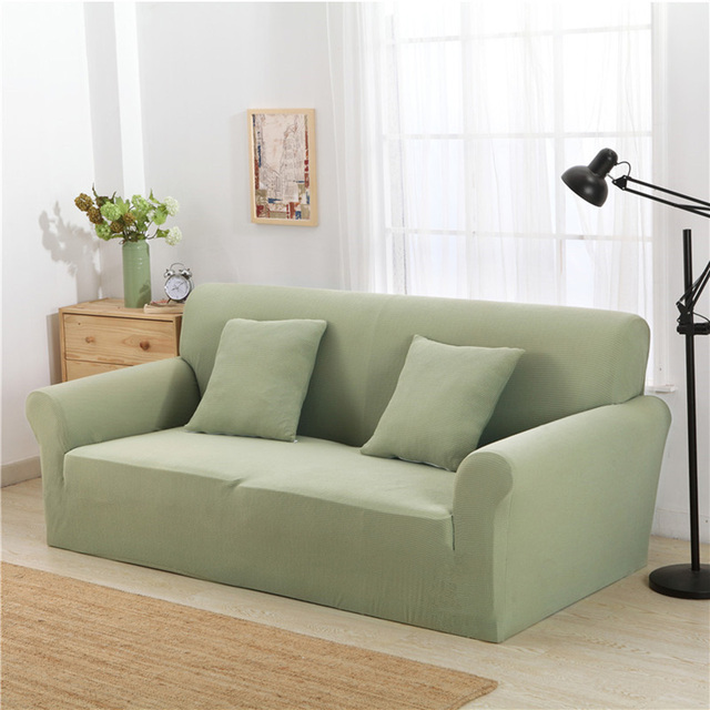 Enipate 100% Knitted Cotton Sofa Cover Solid Color All Inclusive Slipcovers  Couch Case 7